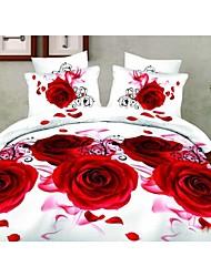 Shuian® Duvet Cover Set,4 Piece Suit 3D Oil Painting Bedding Sets Cotton Printed Bedclothes Bed Linens Sheet Sets