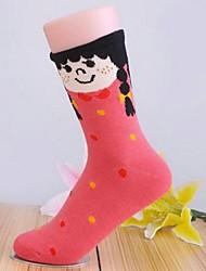 5pairs meias menina dos desenhos animados de algodão retro das mulheres (cor colocação aleatória)