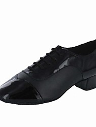 Customizable Men's Dance Shoes Latin Leather Chunky Heel Black
