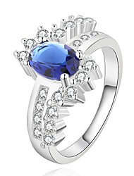 European Style Silver Plated Blue Gem Flowers Ring