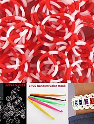 600PCS Red&White 8-Segment DIY Twistz Silicone Rubber Bands for Rainbow Loom Bracelets with Hook&S-clips