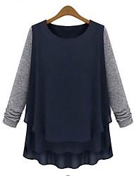 cuello redondo camisa costuras sueltas de las mujeres