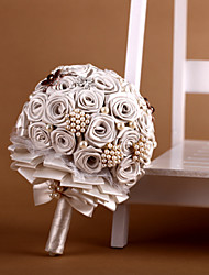 Elegant Ivory Ribbon Roses With Pearl Wedding Bouquet