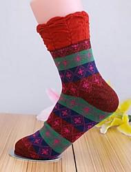 Retro quentes meias de algodão 5pairs mulheres GIMP (cor aleatória de colocação)