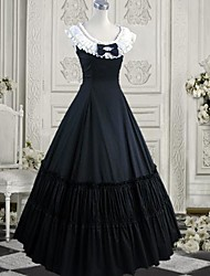Sleeveless Floor-length Ink Blue Cotton Gothic Lolita Dress
