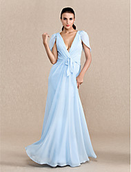 TS Couture® Prom / Formal Evening / Military Ball Dress Plus Size / Petite Sheath / Column V-neck Floor-length Chiffon with Bow(s) / Side Draping