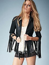 Women's Simple Tassels Long Sleeve Leather Coat
