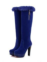 altas botas de plataforma punta redonda zapatos de las mujeres de la rodilla tacón grueso con la cremallera más colores disponibles