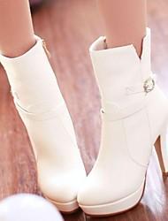 botas sapatos femininos rodada toe de salto stiletto meados de bezerro com zíper mais cores disponíveis