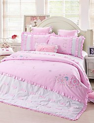 FADFAY@Cute Girls Floral Bedding Sets Pink Kids Embroidered Flower Duvet Cover Set Queen