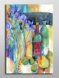 Hand Painted Oil Painting Floral Table Scape With Irises by Annelein Beukenkamp with Stretched Frame