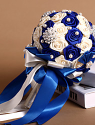 Royal Blue & Ivory Ribbon Roses With Pearl Wedding Bouquet