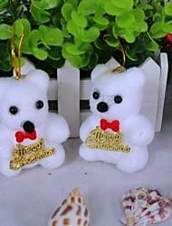 ornamentos urso branco árvore de natal (conjunto de 2)