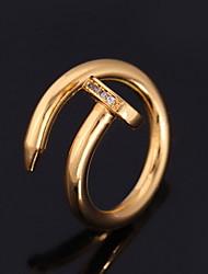 anneaux plaqué vintage cool clou fantaisie bague en or 18 carats platine aaa + zircone bijoux de haute qualité
