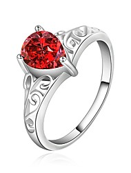 MINT 925 Silver Red Gem Ring