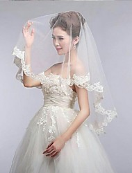 Ivory One Tire Elbow Wedding Veils with Lace Trim ASV7