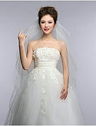 4Tire Fingertip Wedding Veils with Pencil Edge with Ribbon Bow ASV3