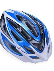 moda unisex y de alta transpirabilidad pc + epp casco de bicicleta con visera desmontable (20 salidas) - azul + plata