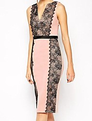Women's Lace Pink Dress , Sexy/Bodycon/Lace Deep V Sleeveless