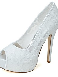 Women's Wedding Shoes Heels / Peep Toe Heels Wedding / Party & Evening Black / Pink / Ivory / White