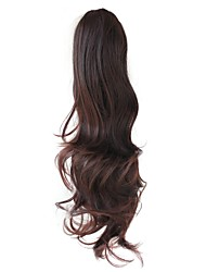 Claw Clip Synthetic 20 Inch Dark Brown Long Curly Ponytail