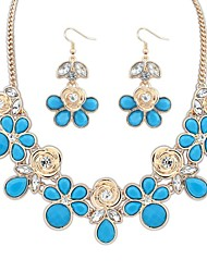 Women's Clearance Florals Beads Cluster Bib Statement Necklace Earrings Set