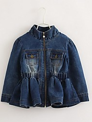 Girl's Solid Jacket & Coat,Cotton / Denim Winter / Spring / Fall Blue