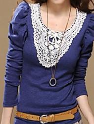 encaje de manga de soplo elegante cuello adornado blusa azul