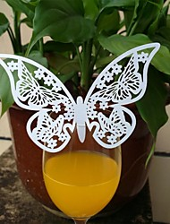 50pcs Laser Cut Butterfly Cup Name Place Escort Card for Wine Glass Wedding Baby Shower Christmas Party Decoration