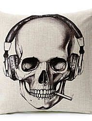 Headset Skeleton Cotton/Linen Decorative Pillow Cover