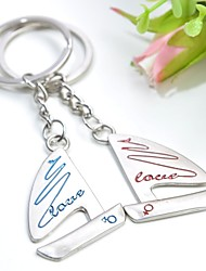 Personalized Engraving Sailboat Metal Couple Keychain