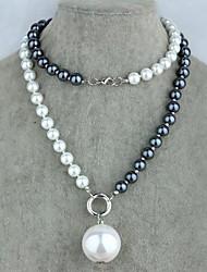 Z&X®  Elegent Bicolor Imitation Pearl Strands Pendant Long Necklace (1 pc)