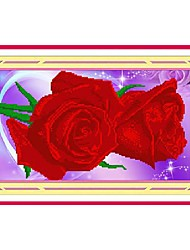 DIY Wall Art Wall Decor ,Flowers and Plants Style Rose Fabric 3D Diamond Painting Wall Decor Set of 1