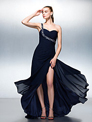 TS Couture Formal Evening Dress - Dark Navy Plus Sizes / Petite A-line One Shoulder Sweep/Brush Train Chiffon