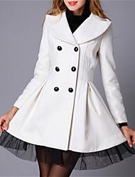 Women's Double Breasted Mesh Hemline Woolen Coat