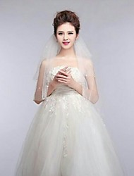 2Tire Elbow Wedding Veils with Pearls with Comb ASV6