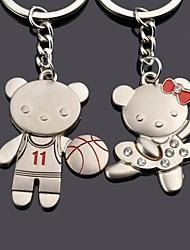 gravura de metal personalizado urso casal chaveiro