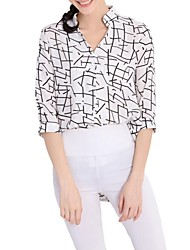 Women's Casual/Daily Simple Spring / Summer / Fall Shirt,Print V Neck ¾ Sleeve White Polyester Thin
