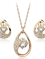 ZGTS  Women's Gorgeous Water Drop Rhinestone/Crystal Necklace Earring Set
