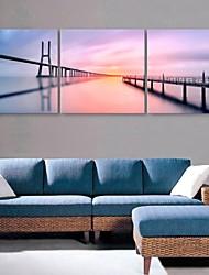 e-home® lona esticada arte do rio e da ponte set decoração pintura de 3