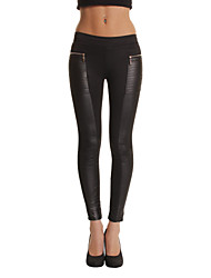Women's Patchwork Black Skinny Pants , Casual