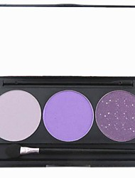 3 Color Purple Shimmer Glitter Powder Professional Eye Shadow Makeup Cosmetic Palette with Mirror&Applicator Set 4#