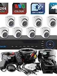 YanSe® 8CH D1 DVR Kit IR Color Waterproof Dome Camera Security Cameras System  CCTV 711CC08