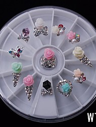12PCS Cute Mix Rose Candy DIY Alloy Nail 8CM Wheel Nail Art Decoration