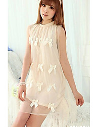 Fashion Style Bowknot Embellished Gauze Dress Apricot