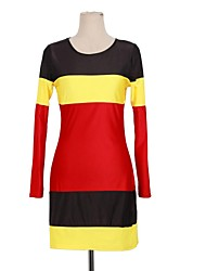 Beauty Fashion Black Yellow and Red Patchwork Bandage Dress Sexy Long Sleeve Party Bodycon Midi Dress 4083