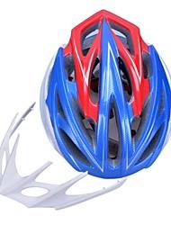 высокой воздухопроницаемостью PC + EPS черный велосипедный шлем со съемным солнцезащитный козырек (24 отверстия) - синий + красный + серебро
