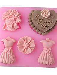 Wedding Love Full Dress Baking Fondant Cake Choclate Candy Mold,L8.3cm*W7.7cm*H1.8cm