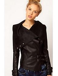 Clement Women's European Slim Lapel Short Type Coat Leather Clothing