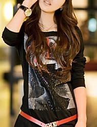 fashion girl manches longues imprimé col rond t-shirt noir